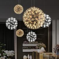 식당 주방 조명을 생활 현대 스파크 볼을 주도 샹들리에 골드 크롬 불꽃 공 창조적 인 예술 매달려 램프