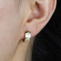 2020 Trendy Breitbandgoldfarbe Ohrringe poliert Huggie Ohrringe für Frauen Minimalist Hoop Hochzeit Schmuck Großhandel