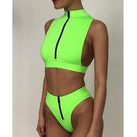 Bikini de cintura alta 2020 Mujer Neon Neon Traje de baño verde hembra Ropa de baño de cuello alto Mujeres Cremallera Top Top Top Traje de baño Sexy Bañadores