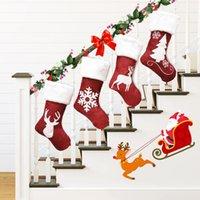 Christmas Stocking Christmas Decorations Gift Bag Kenaf Elk Embroidery Xmas Gifts Christmas Tree Pendants 4 Style XD23944