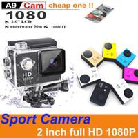 Neueste Modell A9 SJ4000 1080P Full HD Action Digitale Sportkamera 2 Zoll Bildschirm Unterwasserdichten 30m DV-Aufnahme Mini-Fotokamera