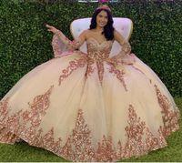 Sparkly Princess Rose Gold Gold Quinceanera Robes Vintage Sweetheart Dentelle Applique Sequins Robe de bal Tulle Prom Soirée Partie douce 16 robe
