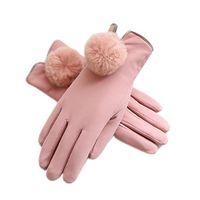 خمسة أصابع قفازات النساء الناعمة بو الجلود الحساسة السيدات يندبروف دافئ اصطف الرسائل النصية أنيقة الشتاء سميكة الطقس البارد