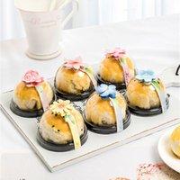 80 / 100pcs Blumen-Eidotter Crisp Pastry-Siegel-Aufkleber-Streifen Mooncake Paket-Kasten-Dekoration