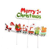 1Set Buon Natale Lettera Cake Topper Babbo Natale del pupazzo di neve Treno cake topper Decorazione natalizia decorazioni per la casa Table