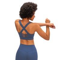 Hohl zurück Sport-BH Quer zurück Frauen Unterwäsche der Turnhalle Kleidung Frauen Ober Unterstützung laufen Fitness Rucksack lu Yoga-BH mit Stoßschutz