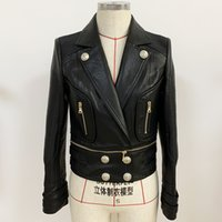 High Street Nouvelle mode 2020 Veste de concepteur Femme Bord de lion de lion détachable Boutons de moto en cuir synthétique