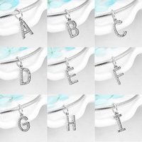 High quality Crystal CZ beads Letter A to Z 925 Sterling Silver Charms fit Original Kataoka Bracelet Necklace Jewelry making