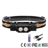 Lampe Frontale Boruit Headlamp D25 5000lm 2*XM-L2 Headlight 6 Modes 18650 USB Rechargeable Head Torch Light Powerful Head Lamp