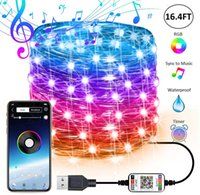 USB Peri Dize Işıkları Müzik Sync Renk RGB LED Şerit Bluetooth Uygulaması Kontrol Bakır Tel Dizeleri Noel Partisi Düğün Dışarı Dekorasyon Stokta
