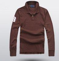 봄 가을 남성 솔리드 폴로 셔츠 큰 말 자수 긴 소매 유럽 비즈니스 T 셔츠 겨울 스포츠 폴로 캐주얼 티 블랙 화이트