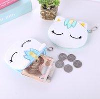 5 색 뜨거운 판매 가와이이 만화 유니콘 어린이 봉제 동전 지갑 지퍼 변경 지갑 미니 지갑 어린 소녀 여성을위한 선물