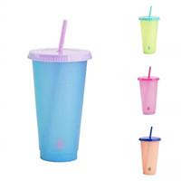 PP المواد واضح أكواب بلاستيكية درجة الحرارة الاستشعار تغيير لون أكواب سترو مع غطاء قطرة الماء أزياء القهوة القدح عصير 5 5hb G2