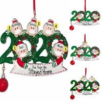 Dhl تسليم سريع 2020 حار بيع diy الحجر الصحي زخرفة عيد الميلاد هدية عائلة شخصية من 4 زخرفة جائحة مع قناع الوجه FY4278