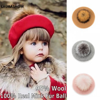Laurashow Baby Beret Warm Wool Winter Beanie Hat With Real F...
