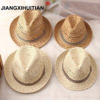 2020 nueva moda de paja trabajo hecho a mano las mujeres del verano de rafia del sol del sombrero de playa de Boho Fedora Gorra para el sol sombrero flexible hombres del casquillo de Panamá