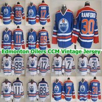 Edmonton Oilers CCM Vintage Jersey 99 Wayne Gretzky Mark Massier 89 Sam Gagner Paul Coffeey 17 Jari Kurri 30 Bill Ranford Hockey Jersey