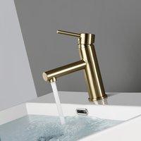 Torneiras da pia do banheiro Bagnolux Luxo Morden Brushed Gold Lavatory Torneira Uma alça de guarnição e misturador de vaidade frio Torneira
