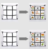2020 Blank Sublimation Taie bricolage Sublimation 9-Grid 45cm * 45cm Pillowcases transfert de chaleur d'impression pillowslip blanc Sans PP Coton