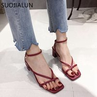 SUOJIALUN 2020 Ankle Strap Women Sandals Summer Fashion Narrow Band Dress Shoes High Square Heel Ladies Gladiator Sandal Shoes Y200620