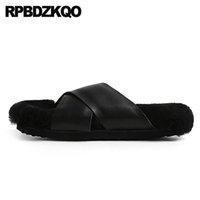 Pantoufles véritables sandales en peau de mouton Sandales en peau de peau de laine cuir Chaussures de luxe femmes Designers Coréen moelleux peluche hiver 5 velu