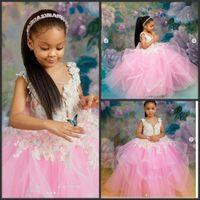 فساتين الفتيات مسابقة ملكة الوردي الكرة تول ثوب اللباس Quinceanera الأميرة 2020 زهرة الفتيات الفساتين لفساتين الاطفال زفاف مطرز الدانتيل