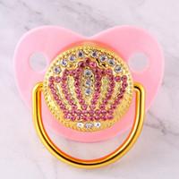 Bling Bling Розовых Стразы Короны Детские соска 0-18 месяцы Infant пустышка Cocka Chupeta Lollipop Baby Shower подарки