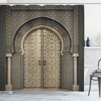 Ducha marroquí cortina envejecido patrón geométrico Puerta Puerta de entrada de diseño de arquitectura cortinas de baño estilo oriental