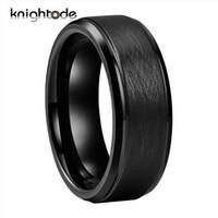 Alianzas de boda negro de carburo de tungsteno para los hombres de las mujeres de 8 mm manera joyería del anillo de los anillos de la nueva vendimia con paspartú cepillado de ajuste cómodo