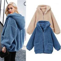Winter Jackets Plus Size 6XL Zipper Fly Pocket Keep Warm Coats Woman Oversize Solid Color Outerwears Womens Lamb Wool