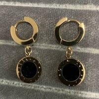 2021 Высочайшее качество Делюкс 18K розовое золото черный круг капля серьги мода 316L титановый сталь летние серьги для женщин девушки оптом