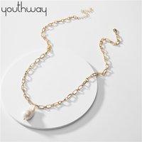 Barock Süßwasserperlen Halskette Adjustable Pullover langkettige natürliche Perlenkette europäische amerikanische berühmter Schmuck