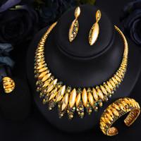 GODKI Gorgeous Luxury Noble Stunning Bangle Ring Necklace Dangle Earrings Jewelry Set for Women Bridal Wedding Jewelry Set 2020
