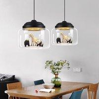 Oda Asma Lambalar Yemek Modern Cam LED kolye lambalar Işıklar İskandinav avize aydınlatma Postmodern Minimalist Hayvan Bar Lambalar Yatak Odası