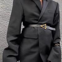 Роскошные дизайнерские ремни для женщин подлинной кожаный ремень золотой треугольник пряжки дамы талии черный Ceinture фам Waistband 2020 Cinto