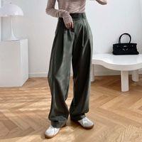 Женские брюки CAPRIS осень мода высокая талия женщины дыма трубки широкой ноги свободного прямого вертикального смысла швабры для
