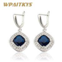 Chinkly Chastelier WPAITKYS Зеленые синие камни серебряные серебряные серьги для женщин ювелирные изделия бесплатная подарочная коробка