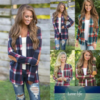 Casual Cardigan donne Plaid Stampa Kimono cardigan a maglia Jumpers Poncho anteriore aperto PU Elbow Patchwork Sweater Coat