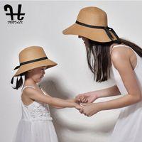 حافة واسعة القبعات furtalk الصيف قبعة الشمس للنساء شاطئ القش ماما والاطفال الأم والطفل حماية دلو قبعة