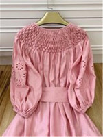 European and American autumn new money hand embroiders nifty small horn 5 minutes sleeve loosen reduce age melting dress