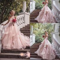 Chérie Perles Volants de Bohème robe de mariée balayage train blush rose jardin robes de mariage élégante princesse Tulle Backless mariage GONW 168
