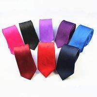 GUSLESON 2020 hombre de alta calidad corbata llana sólida de 100% seda flaca delgada estrecha Gravata corbata corbata para los hombres del partido formal de la boda
