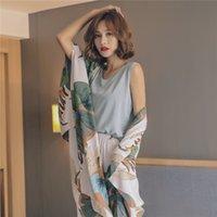 Temmuz ŞARKISI 4 Adet İlkbahar Yaz Kadın Pijama Çiçek Baskılı Viskon Robe Üst ve Şort Kadın pijamalar Gece Suit 200.919 ayarlar