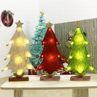 Árvore de Natal LED Tabletop decoração vermelha verde ouro branco Lantejoula Cloth LED Bateria decoração de mesa para o Natal Ano Novo