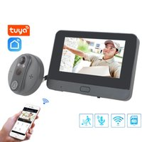 "TUYA Doorbell Péphole Porte Caméra WiFi Doorbell Vidéo Interphone 4.3 ""LCD Détection de mouvement Visionneuse Visionneuse Visionneuse Vie-esprit"