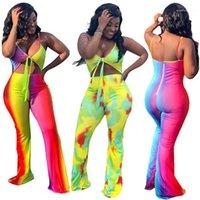 Повседневный Широкие брюки ноги Женщины одежда Женская Дизайнерская Контраст Цвет Комбинезоны Мода Контрастность Цвет Rompers Sexy Backless Вверх