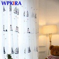 Мультфильм Симпатичные Ship занавес тюль вышитая Sheer Voile для детей окна спальни Группа Лечение детей Занавес Пряжа дома P2253