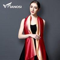 Sciarpe [Vianosi] 2021 Brand Bandana Gradiente Colore Seta Sciarpa Seta Donne Luxury Hijab Scialle lungo moda estate VA108