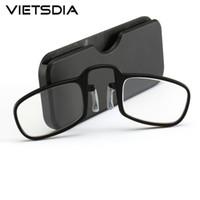 2020 Stile Pince-nez Naso Riposo schiacciamento portatile sottile pince-nez Ottica occhiali da lettura No Braccio Old Men Donne 1,5 2,00 2,50