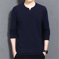 Man V-neck T-shirts Fashion Occident Trend Long Sleeve Loose Sport Tees Designer Autumn Male New Streetwears Casual Pullover Tops